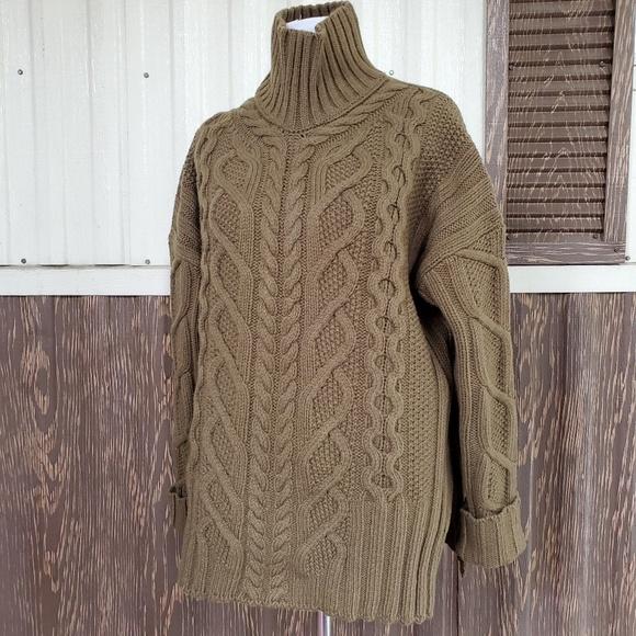 Everlane Mockneck Chunky Sweater Olive Green S by Everlane